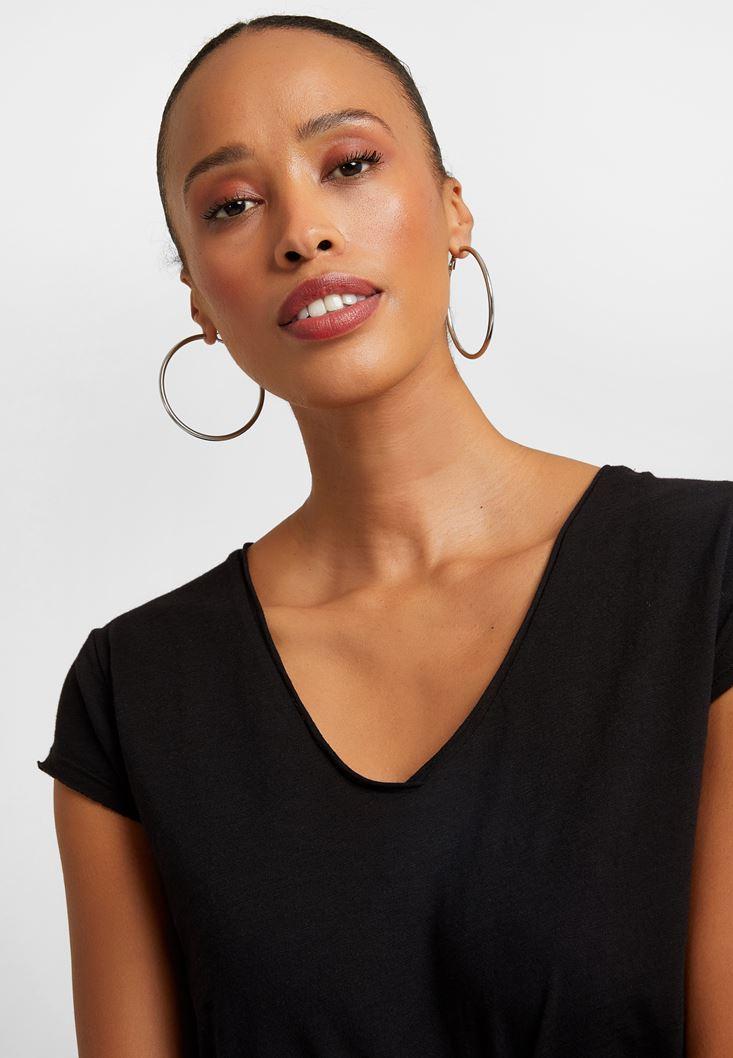 Black V-Neck Cotton Shirt