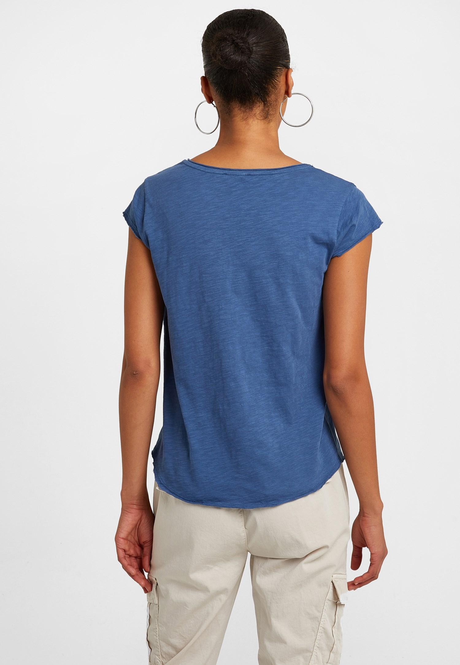 Bayan Lacivert V Yaka Tişört