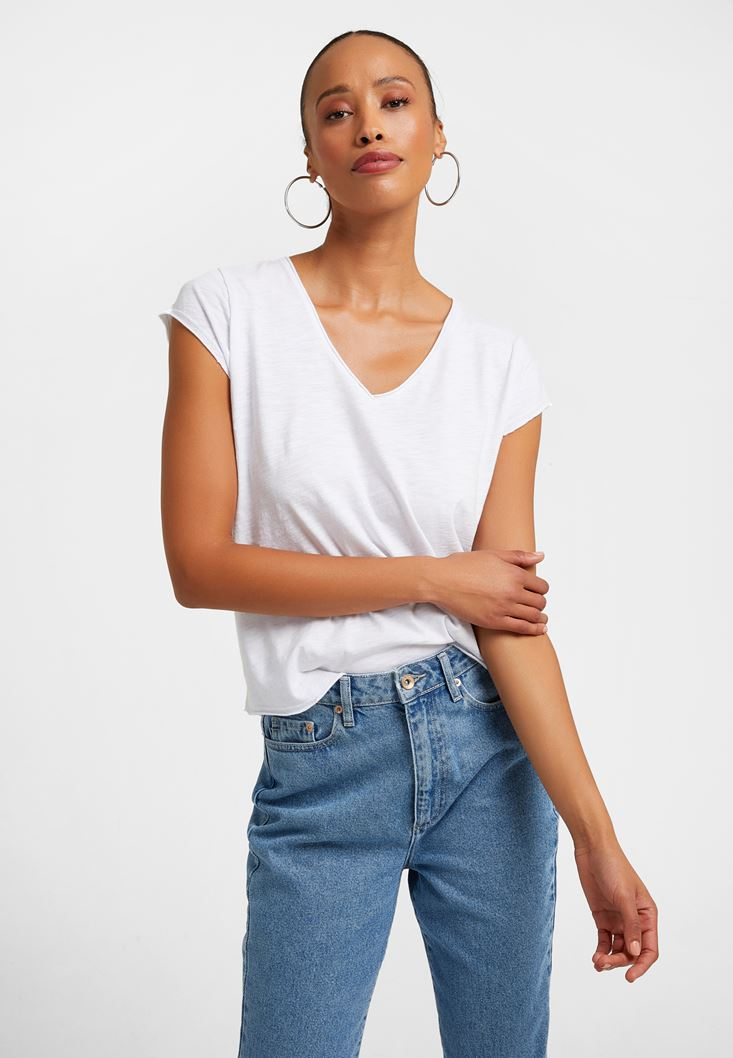 White V-Neck Cotton Shirt