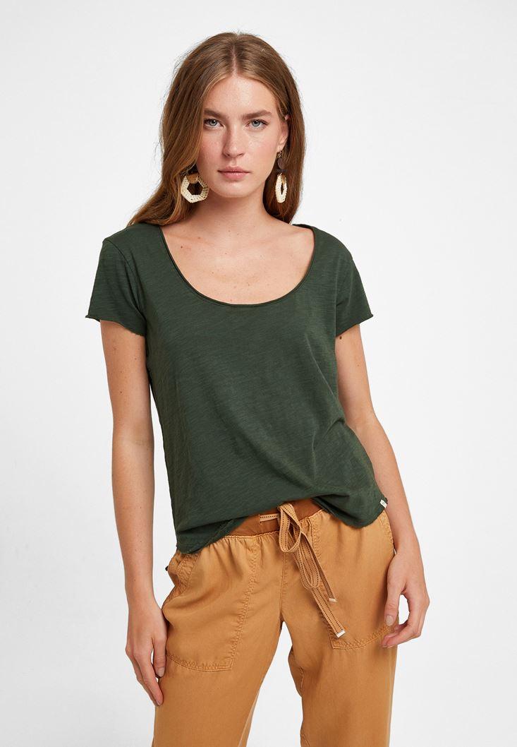 Yeşil U Yaka Tişört