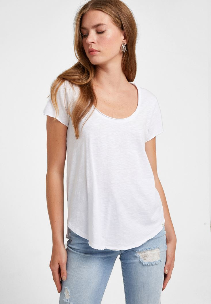 White U-Neck T-Shirt