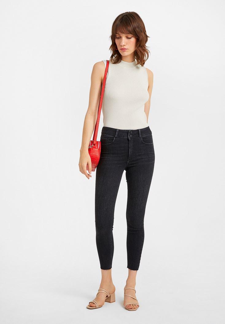 Siyah Yüksek Bel Dar Paça Kot Pantolon
