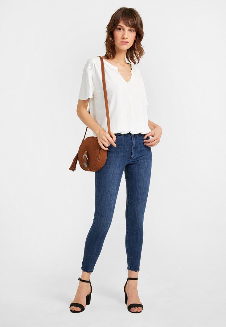 Mavi Yüksek Bel Dar Paça Kot Pantolon