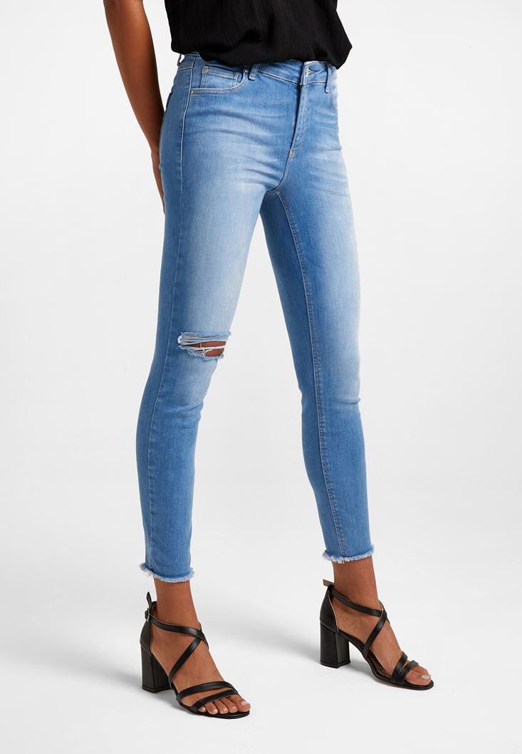 Mavi Orta Bel Vücudu Saran Denim Pantolon