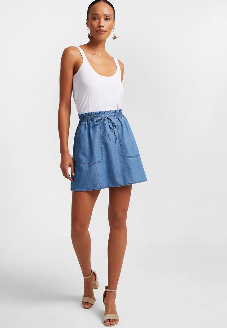 Blue Elastic-Waisted Denim Skirt
