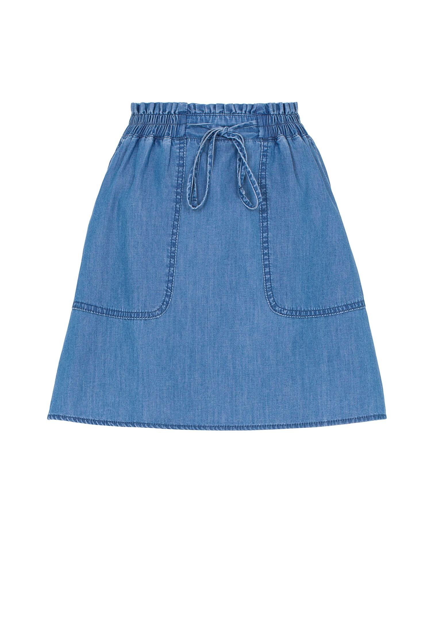 Bayan Mavi Beli Lastikli Mini Kot Etek