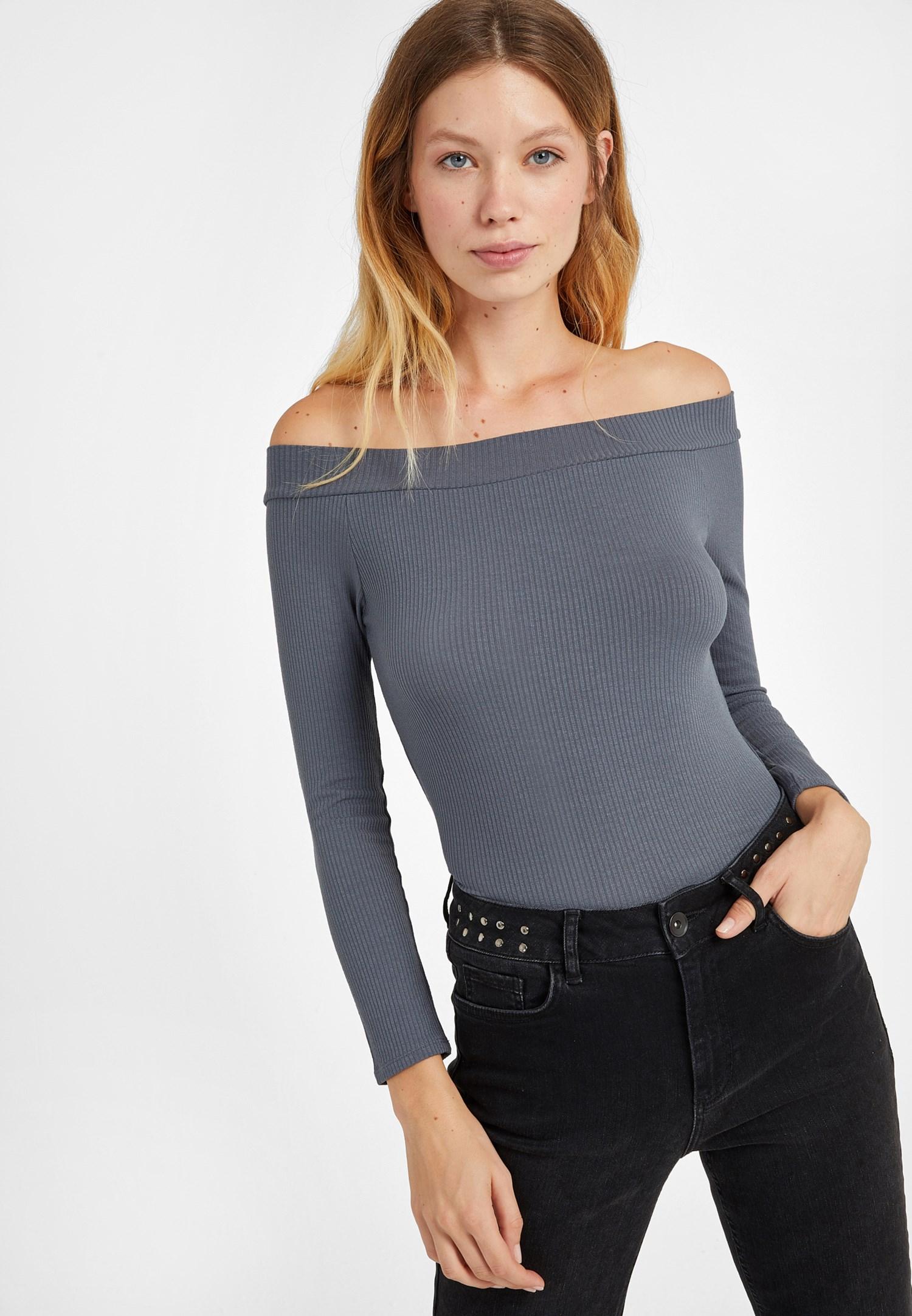 Bayan Gri Bot Yaka Uzun Kollu Bluz