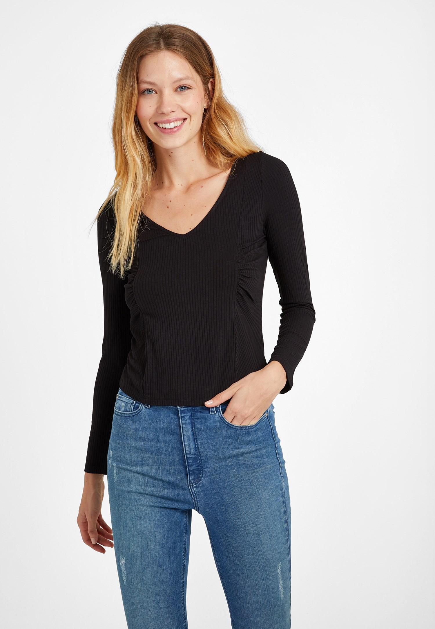 Bayan Siyah V Yaka Büzgü Detaylı Bluz