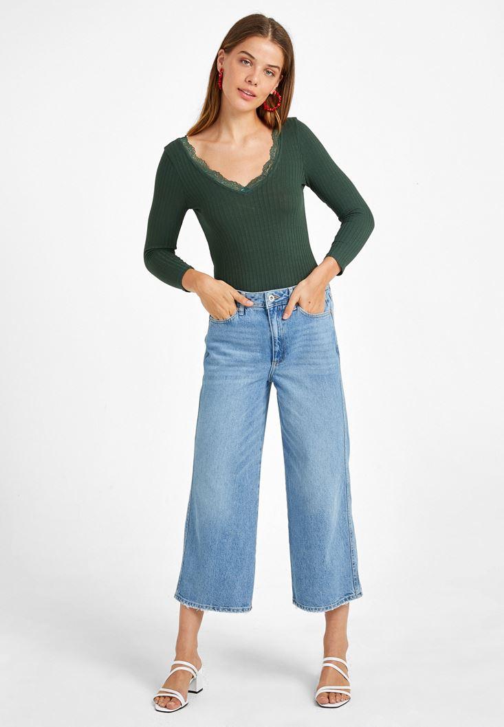 Dantel Detaylı Uzun Kollu Tişört ve Culotte Denim Pantolon Kombini