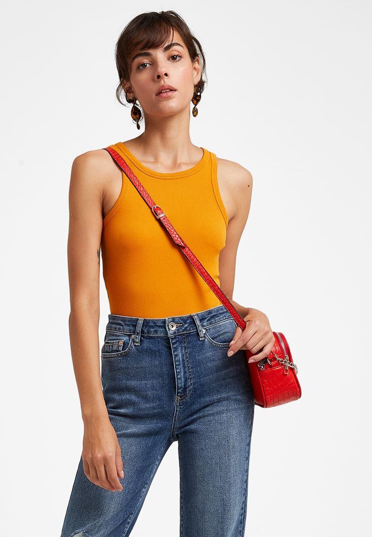 Orange Halter Neck Top