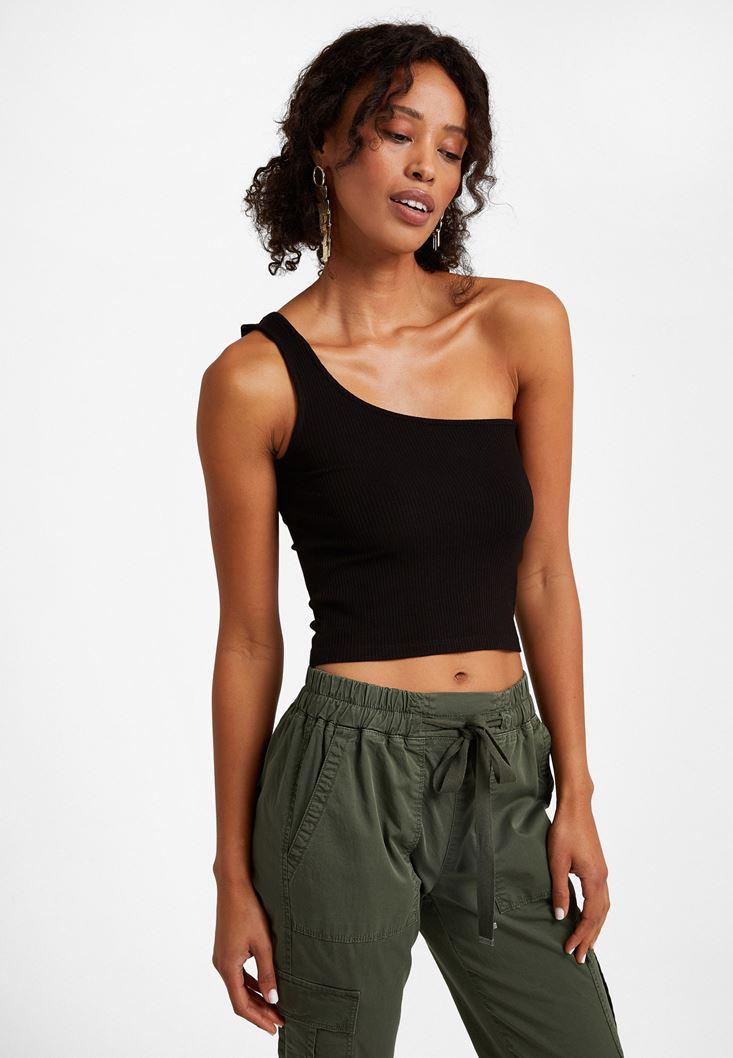 Black One-Shoulder Crop Top