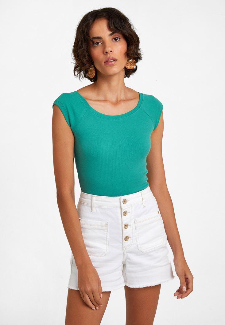 Yeşil Kayık Yaka Kısa Kollu Tişört
