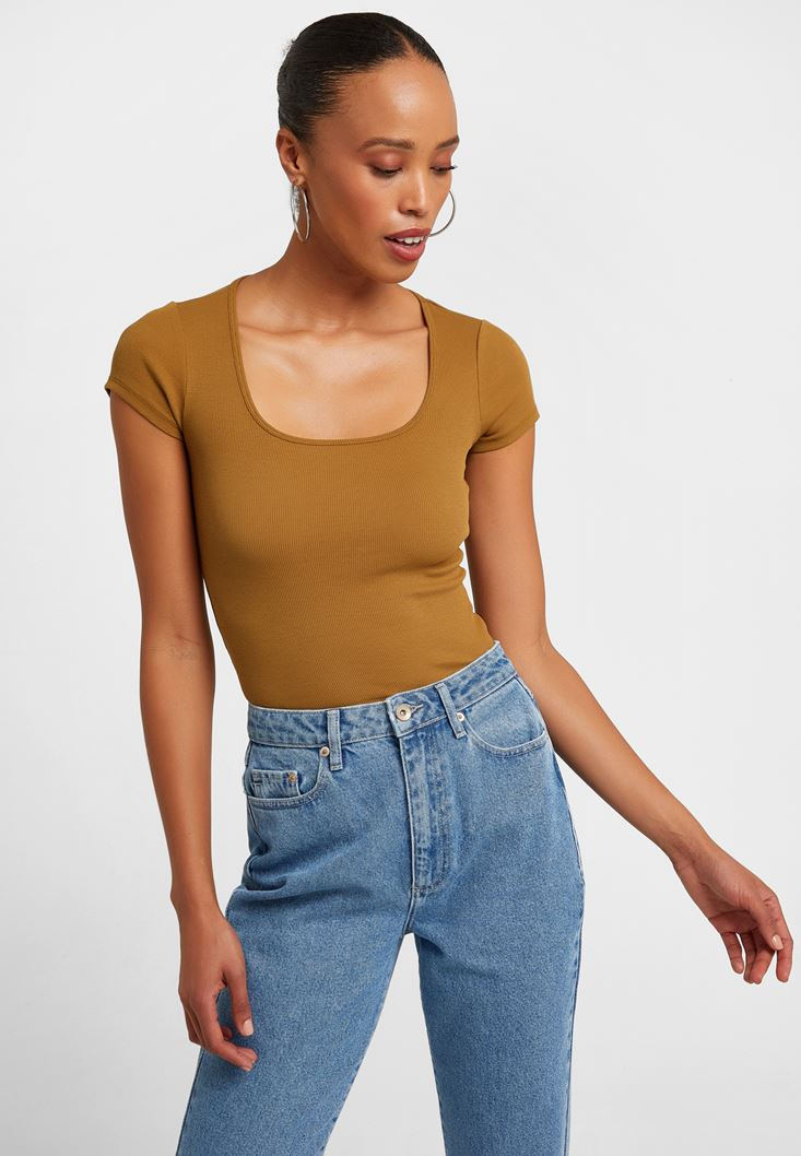 Green U-Neck T-Shirt
