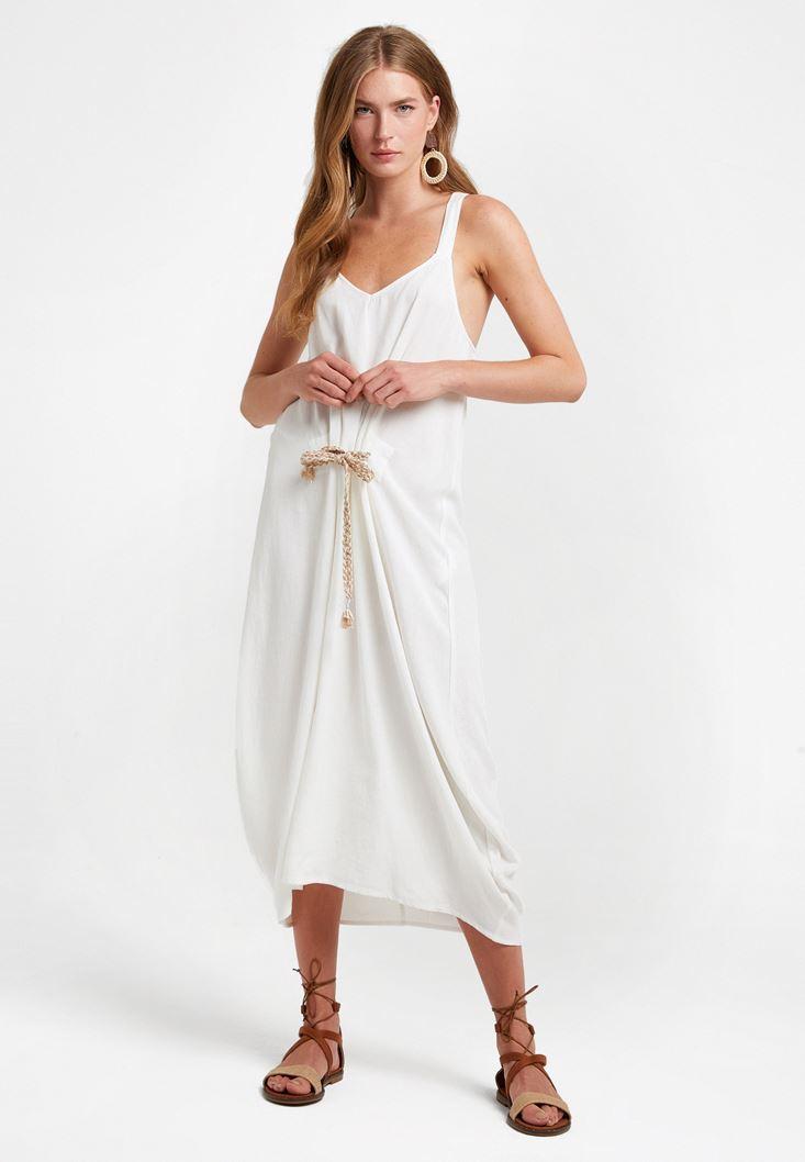 Cream Knot Detailed Long Dress