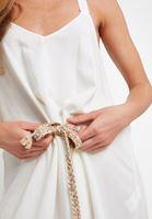 Bayan Krem Bağcık Detaylı Askılı Uzun Elbise