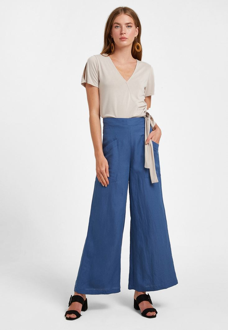 Navy Pocketed Wide-Leg Trousers