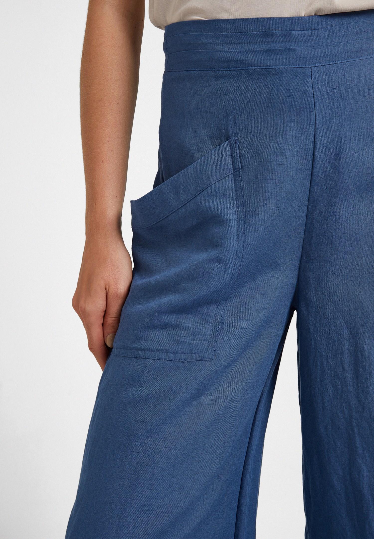 Bayan Lacivert Cep Detaylı Bol Pantolon