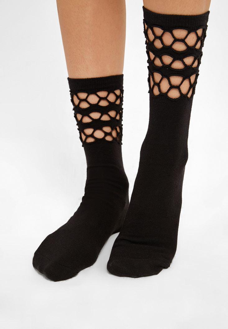 Siyah Pamuklu File Çorap