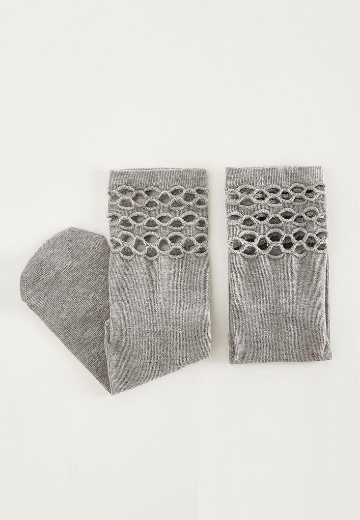 Gri Pamuklu File Çorap
