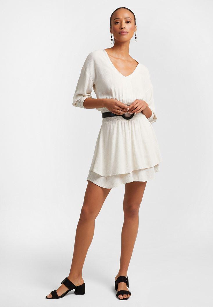 Krem Beli Büzgülü Mini Elbise
