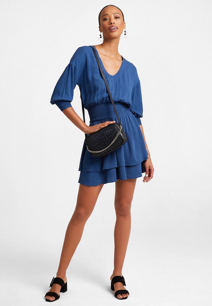 Lacivert Beli Büzgülü Mini Elbise
