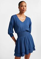 Bayan Lacivert Beli Büzgülü Mini Elbise