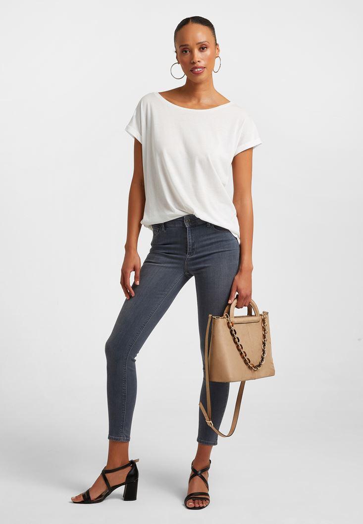 Gri Orta Bel Skinny Denim Pantolon