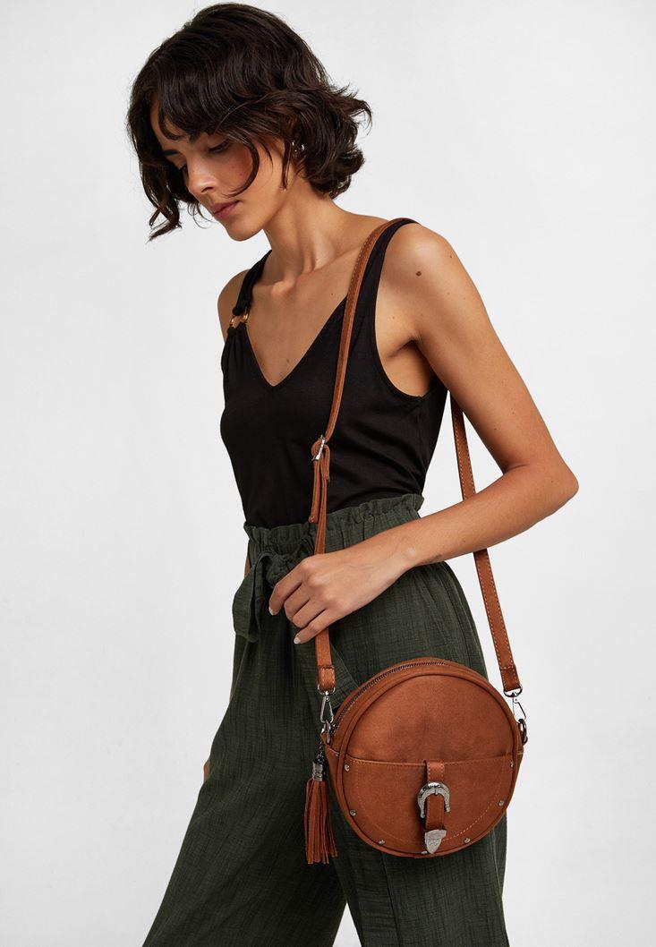 Brown Buckled Shoulder Bag