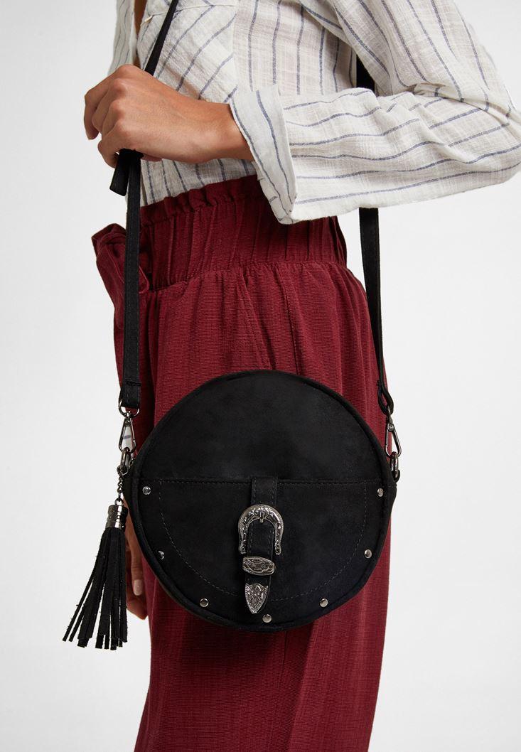 Black Buckled Shoulder Bag