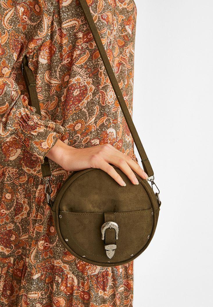 Green Buckled Shoulder Bag