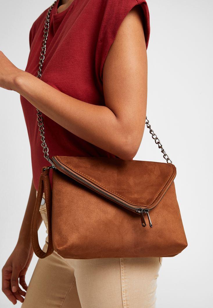 Kahverengi Fermuar Detaylı Askılı Çanta