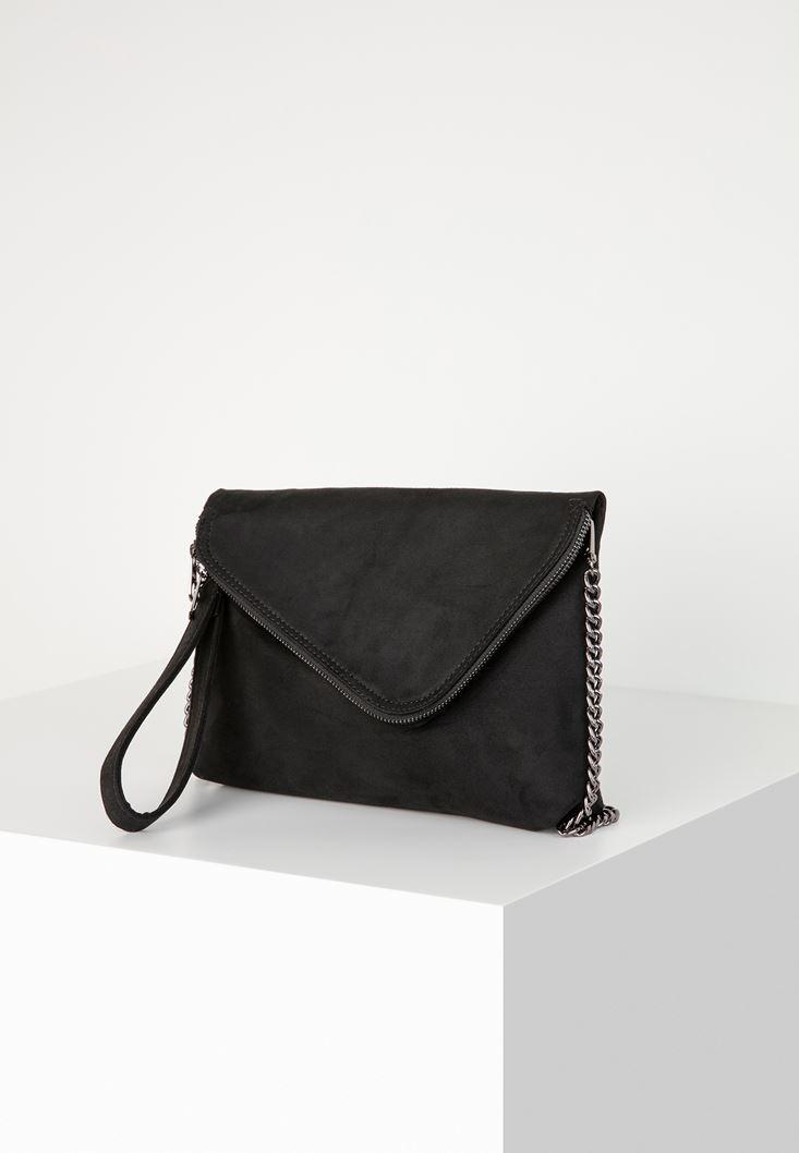 Siyah Fermuar Detaylı Askılı Çanta