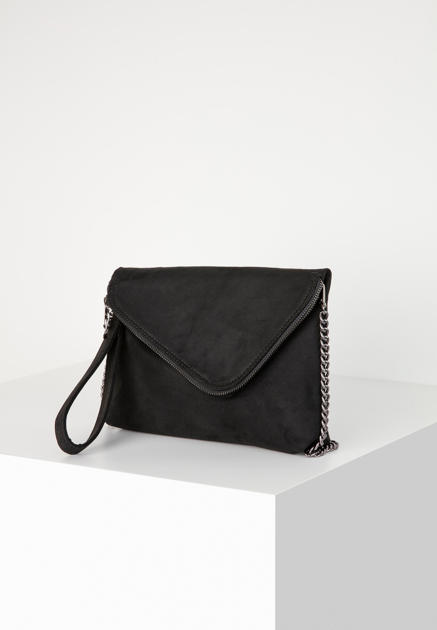 Bayan Siyah Fermuar Detaylı Askılı Çanta