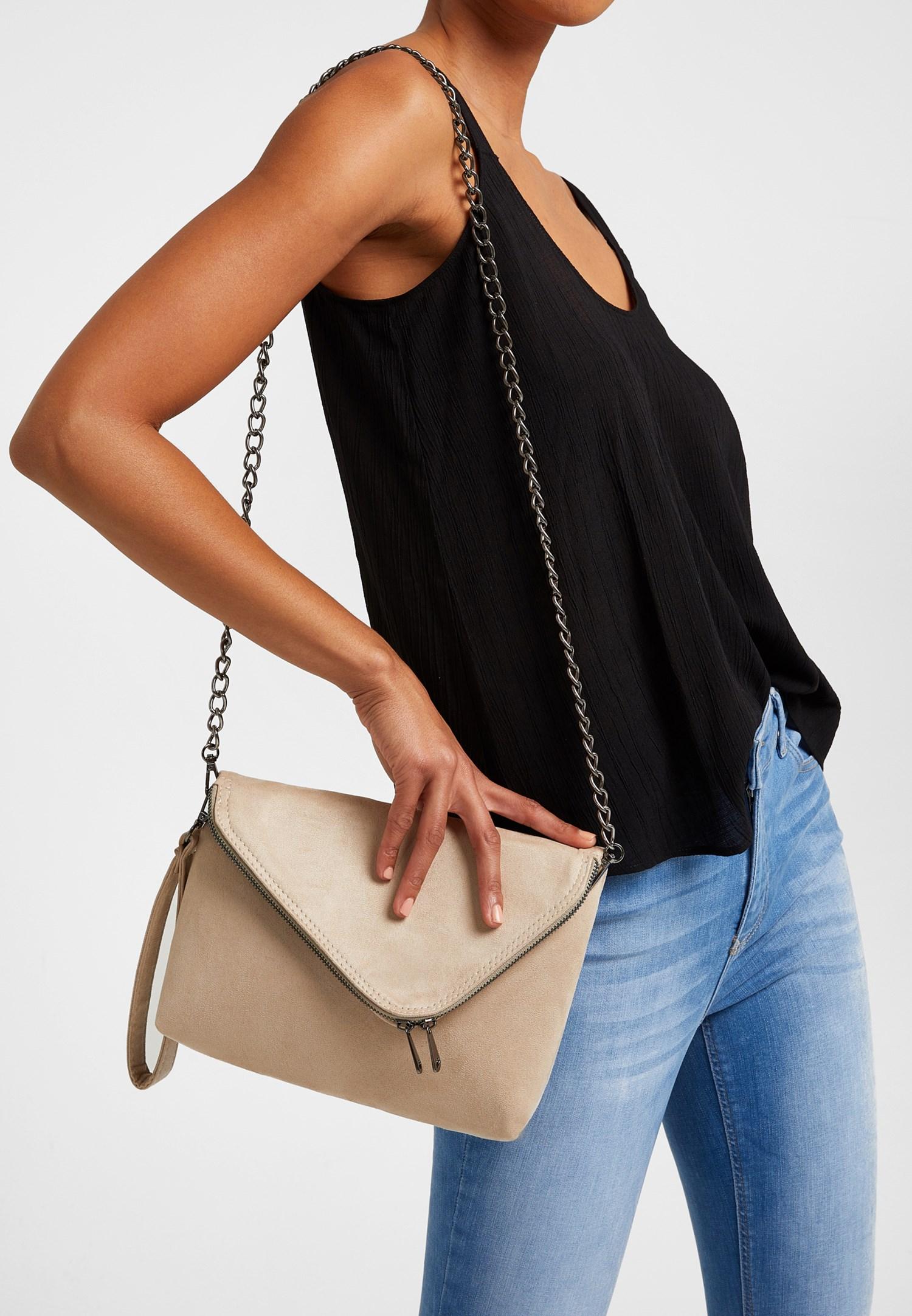 Bayan Krem Fermuar Detaylı Askılı Çanta