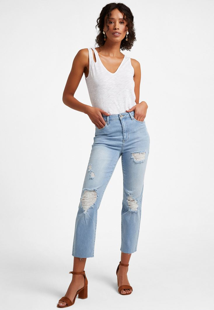 Blue Crop Staight Jeans