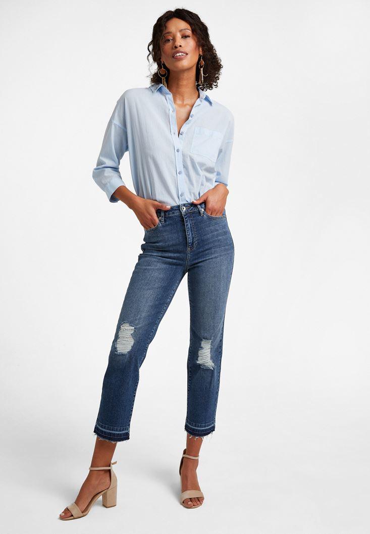 Mavi Yüksek Bel Crop Straight Pantolon