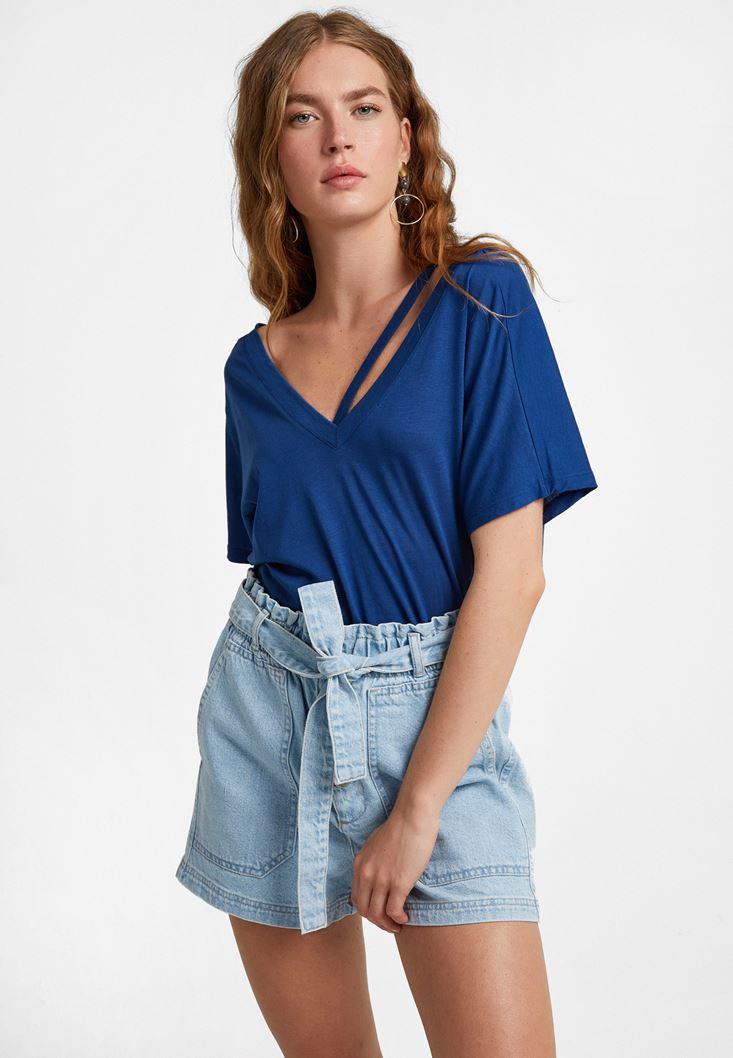 Blue Cut-Out T-Shirt