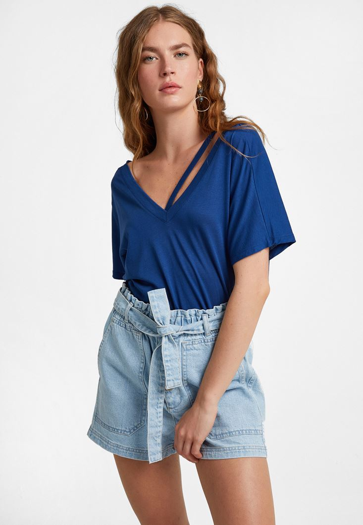 Blue Cut-Out T-Shirt