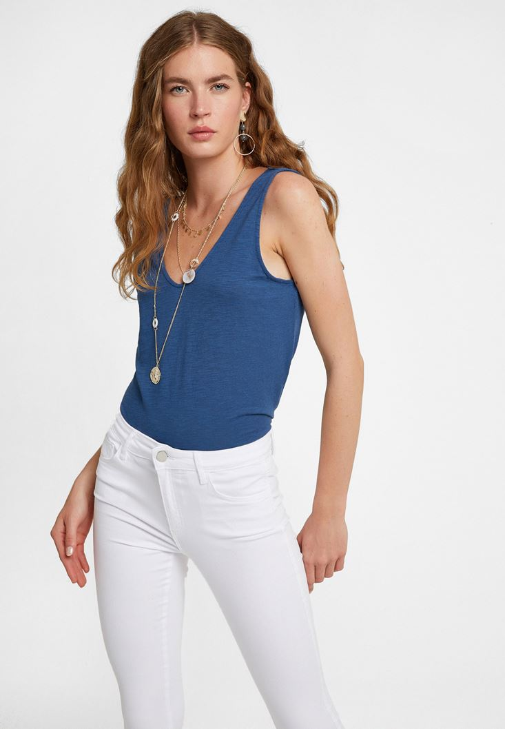 Navy Cut-Out Detailed Top