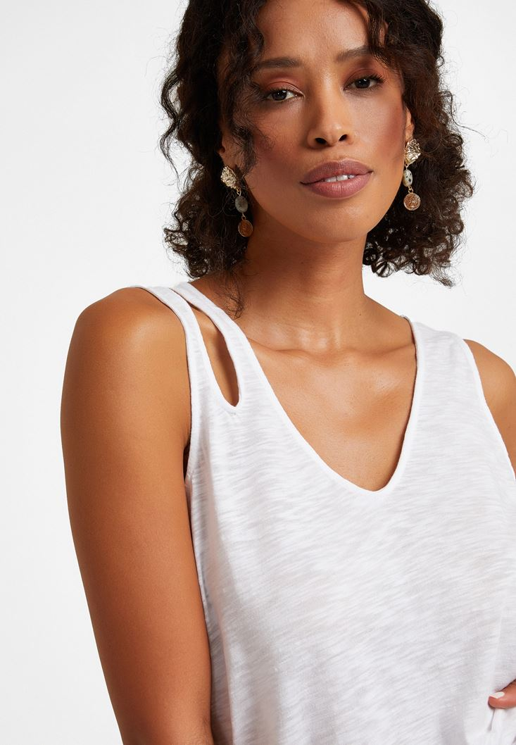 White Cut-Out Detailed Top