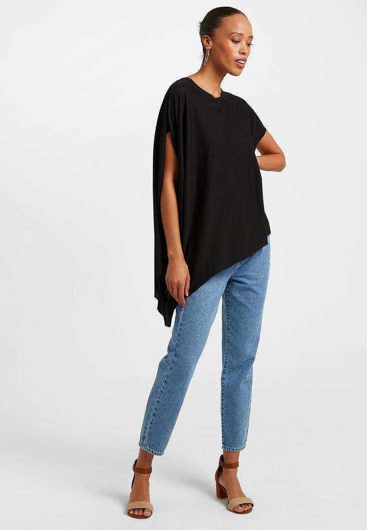 Siyah Asimetrik Kesim Bol Tişört