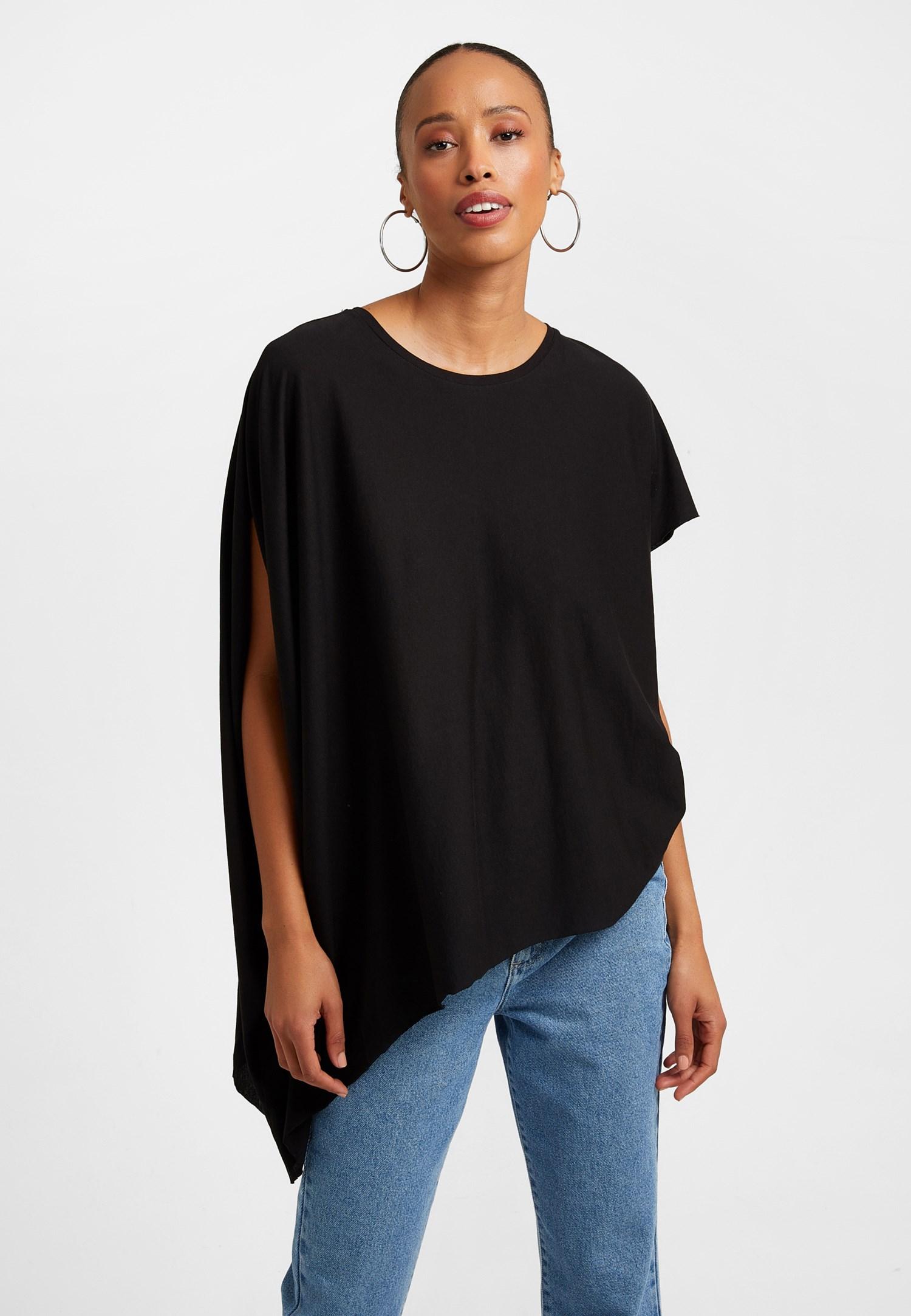 Bayan Siyah Asimetrik Kesim Bol Tişört