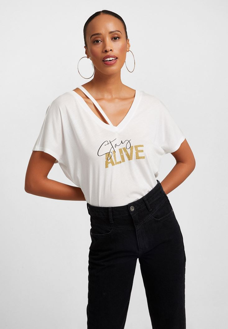 Cream Printed T-Shirth with Cut-out