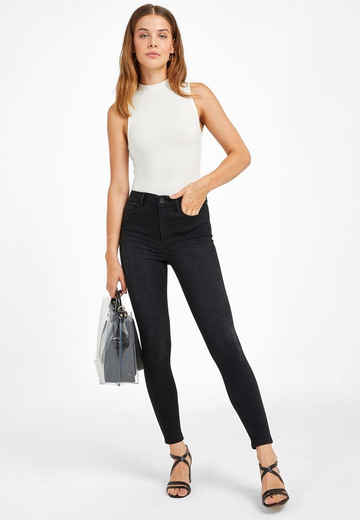 Siyah Yüksek Bel Skinny Kot Pantolon