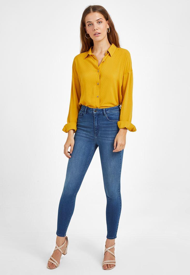 Lacivert Yüksek Bel Skinny Kot Pantolon