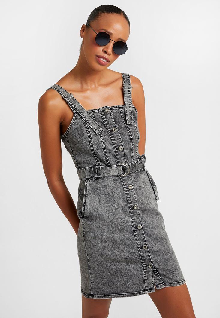 Gri Mini Denim Elbise