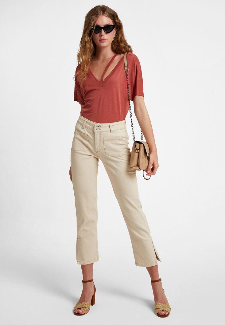 Krem Yüksek Bel Crop Straight Jean