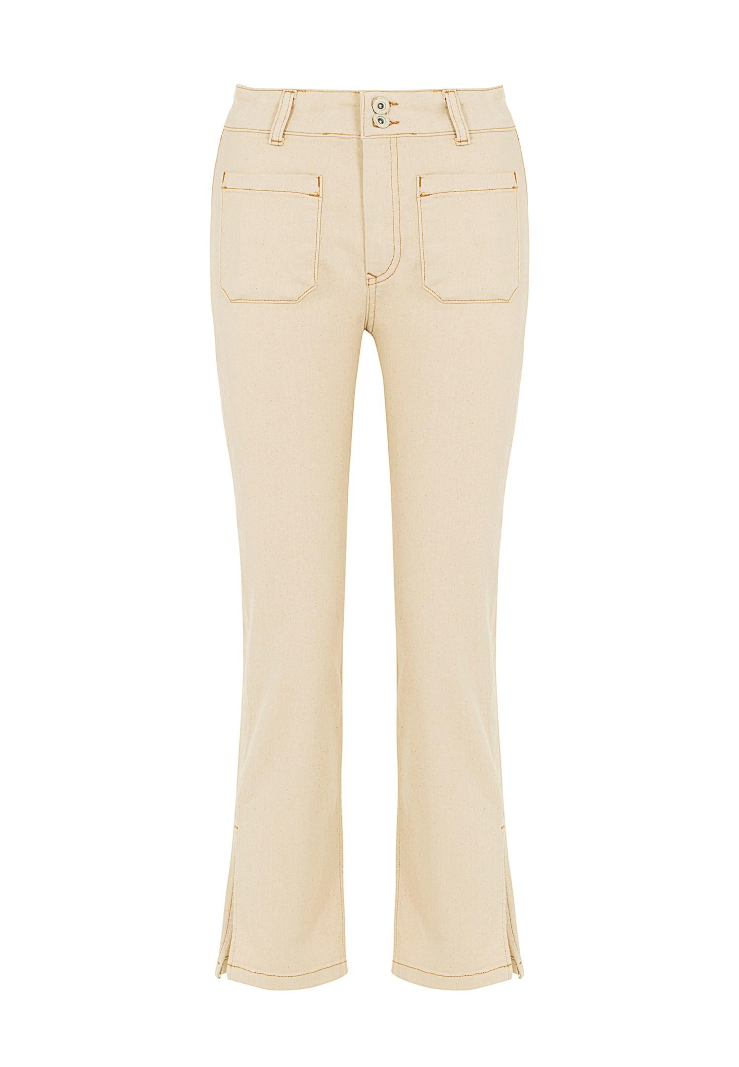 Bayan Krem Yüksek Bel Crop Straight Jean