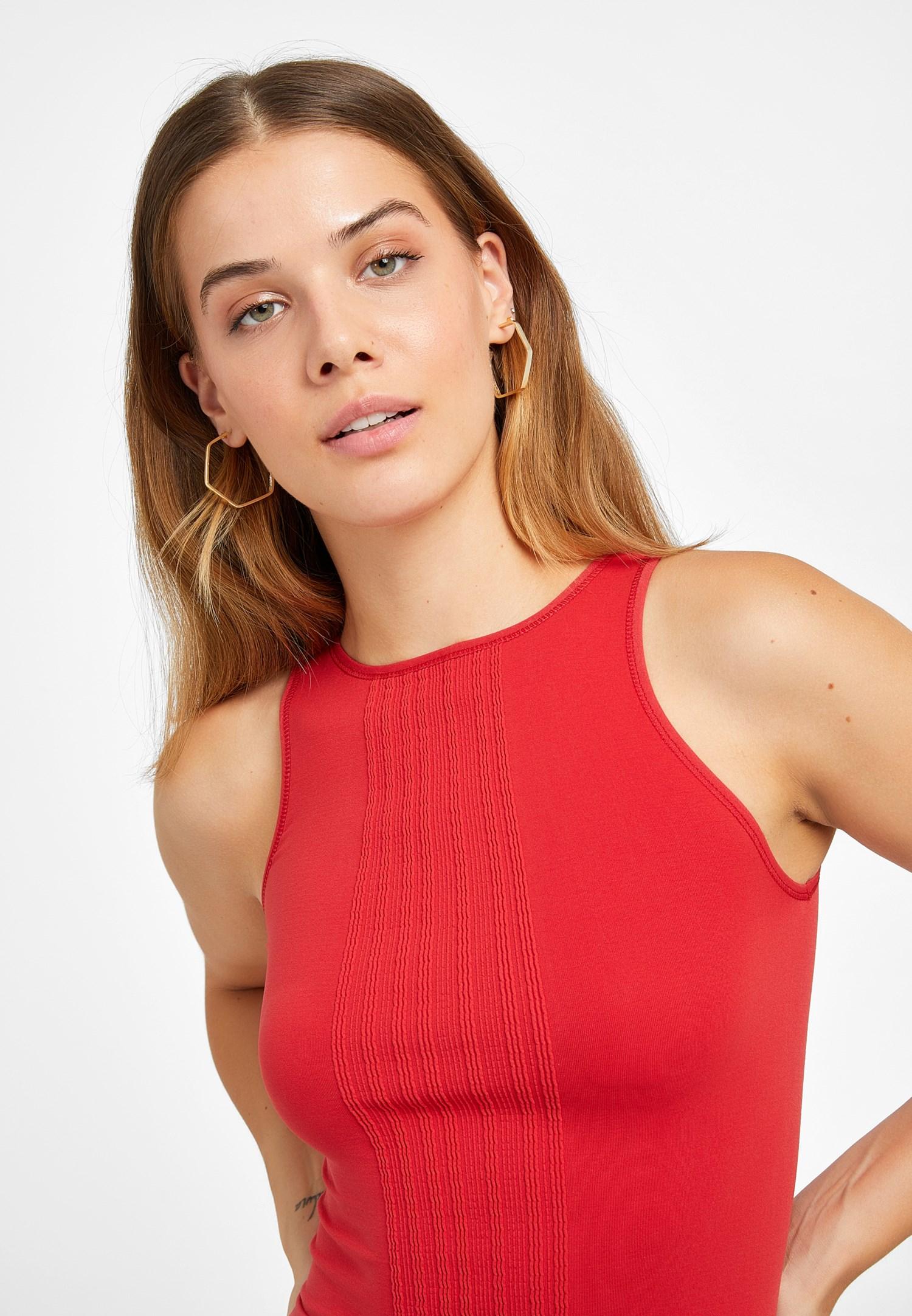 Bayan Kırmızı Halter Yaka Dikişsiz Crop Top