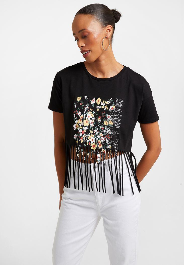 Siyah Püskül Detaylı Baskılı Tişört